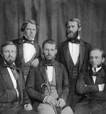 Black and white photo of five gentlemen