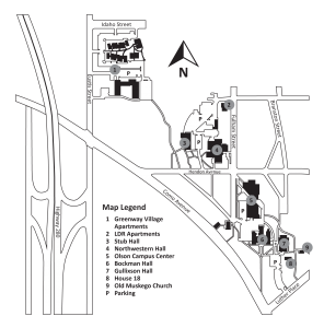 Black and white campus map of Luther Seminary
