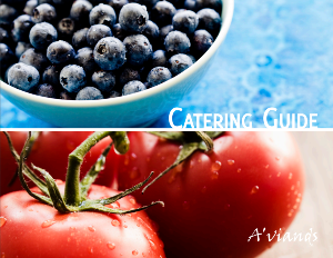 Photo of a bowl of blueberries and two tomatoes with words Catering Guide and A'viands overlaid