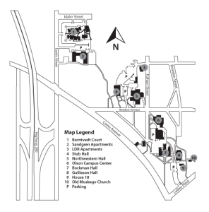 Black and White Map of Luther Seminary campus