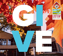 Give(in large letters) with Listen! God is Calling campaign logo in the corner