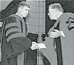 President Emeritus David Tiede congratulates David Lose