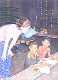 Amanda Olson de Castillo ('04) is pictured working with two youth she serves.