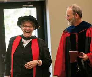 President Robin Steinke and Academic Dean Craig Koester prior to the installation.