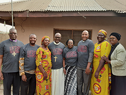 Luther Seminary community members at the Convention of the Lutheran Church of Christ in Nigeria [L to R]: Bishop Peter Bartimawus '05 Ph.D., Fidon Mwombeki '97 Th.D., Fiyayina Bartimawus, Archbishop Musa Panti Filibus '98 Ph.D., Marie Y. Hayes, Sekenwa Briska '12 Ph.D., Nuwayina Briska, and Ruth Musa Filibus.