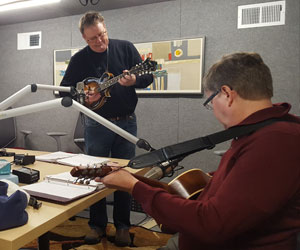 "The Fleshpots of Egypt recorded bluegrass intro music for the ""Sermon Brainwave"" podcast. Pictured [L to R]: Steve Thompson, Scott Simmons '12 M.Div., and Professor Rolf Jacobson '91 M.Div."